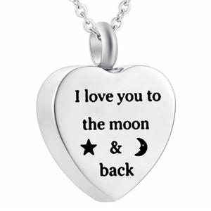 Amado eternamente Te amo hasta la luna y la espalda Collar de urnas para la cremación de las cenizas Joyas de acero inoxidable para el recuerdo