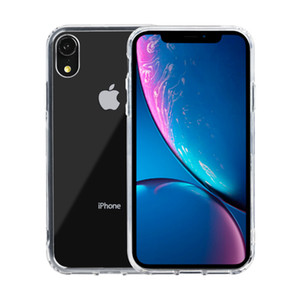 Free shipping Slim Shock-Absorption Acrylic Crystal Hard Clear PC Back cover + Soft TPU side Phone case for Apple iPhone XR 6.1 Inch 2018