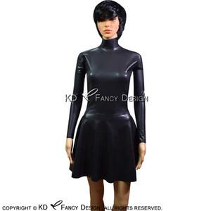 Siyah Seksi Lateks Elbise Uzun Kollu Yüksek Yaka Geri Tam Fermuar Kauçuk Elbise BODYCON tulum LYQ-0090