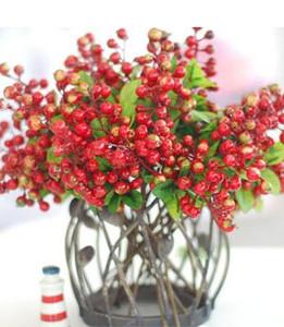 Pantalla Flores 10 piezas Decorativo Arándano Fruta Baya Flor artificial Flores de seda Frutas para la boda Decoración del hogar Plantas artificiales