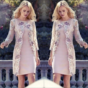 Lace Jacket Sheath Short Mothers' Dresses Sheer 3 4 Long Sleeves Floral Lace Knee Length Mother of the Bride Groom Dresses BA7820