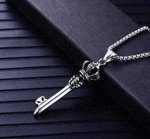 neue Edelstahl Schmuck Herren Krone Schlüssel Anhänger Persönlichkeit Retro Titan Stahlkäfig Pullover Kette Anhänger Mode Umsatz