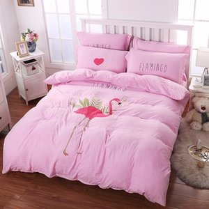 Textiles Fashion Solid Color Washed Cotton Pink Flamingo Printing Style 4pcs Bedding Sets Bedclothes Duvet Cover Set Pillowcase