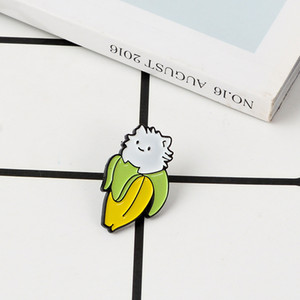 Cute Cartoon Banana Cat Brooch Soft Enamel Pins Kawaii Fruit Animal Badge Lapel Pin Brooches For Women Men Children Funny Gift
