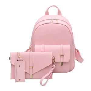 Sacchetto di moda in pelle PU Zaino in pelle Donna Carino 3 Set Sacchetto di scuola Zaini per ragazze adolescenti Sacchetti rosa Lettera Sac A Dos Y18110202