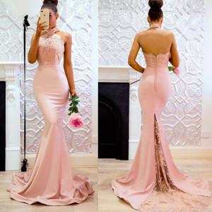 Rosa longa gola alta Mermaid Lace Vestidos Open Back Applique Varrer Train dama de honra do partido Dress For vestido da dama