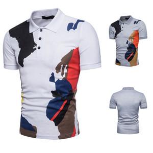 Camicia estiva Camouflage T-shirt uomo manica corta Camicia colletto con risvolto Eur Size Homme Basic Clothing