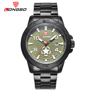 Fashion Longbo  Men Army Star Sports Canvas Leather Quartz Watches For Leisure Clock Simple Watch Relogio Masculino