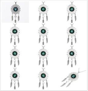 Kadınlar için moda püskül tüy dream catcher kolye bohemia 12 takımyıldızı kolye kolye moda takı