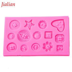 Jialian fondant silicone mold DIY Button shaped Christmas wedding decoration fondant sugar cooking tools cake decoration FT-0333