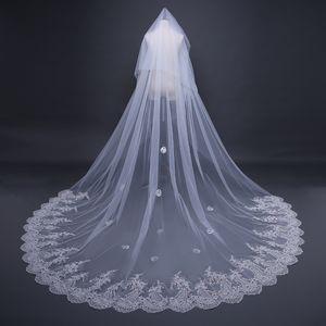 Katedrali veils uzun dantel kenar ile pullu pullu gelin veils kızlar güzellik ucuz bırak düğün veils