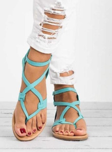 lace with flat feet sandals plus size Summer beach shoes foot ring straps slippers large size women's shoes A102