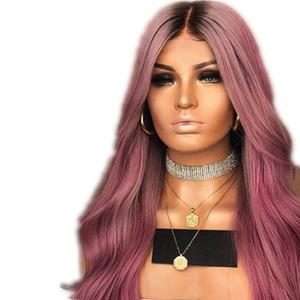 Ombre perucas sintéticas Super ondulado resistente ao calor Cabelo Fibra Glueless Ombre escuro Root Synthetic Nenhum Lace Mulheres Cosplay Party For Wig