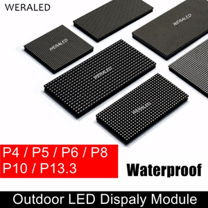 WERALED P4 P5 P6 P8 P10 Módulo LED para exteriores HUB75B Puertos, SMD 3-en-1 Unidad de panel de pantalla de video LED a todo color LED IP65