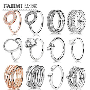 FAHMI 100%925 Sterling Silver Jewelry Zircon Charm Heart-Shaped Water Drops Stars Ring Bow Round Hollow Rose Gold Ring