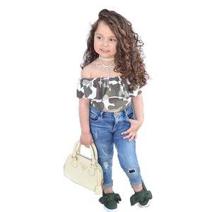 Новая мода лето детская одежда комплект камуфляж футболка + джинсы 2 шт. Топ + брюки детская одежда для девочек костюм детский костюм