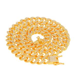13mm 16-24 inç Buzlu Out Ağır Miami Küba Link Zinciri Kolye Hip hop Altın Gümüş Renk Moda takı