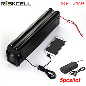 5pcs / lot batterie de poisson d'argent haute capacité 24v 20ah ebike li-ion batterie avec port USB et chargeur