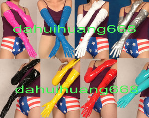 Sexy PVC Longs Gants Nouveau 9 Couleur Brillant PVC Gants Unisexe Sexy PVC Gants Halloween Partie Fantaisie Robe Cosplay Costumes DH236