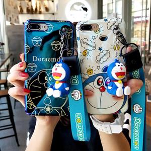 아이폰 XR 도라에몽 케이스, 귀여운 일본 만화 소프트 케이스 iPhone XS 맥스 X 8 8plus 7 7plus 6 6S 6P 커버 + 장난감 스탠더 + 스트랩