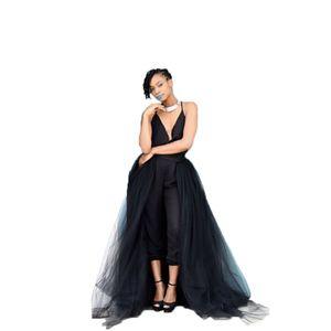 4Layers Black Overlay Skirt Fashion Long Tutu Tulle Skirt Bride Overskirt Chic Floor Length Saia Longa Detachable Wedding Skirts