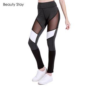 Beauty Stay Black Casual Leggings Mujer Sport Fieness Workout Inserto de malla Sexy Jogging Transpirable Chica Pantalones cintura alta