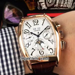 Cintree Curvex 8880 Calendrier Perpétuel Phase de Lune Cadran Blanc Cadran Automatique Montre Homme Or Rose Bracelet Cuir Bracelet Montre Homme