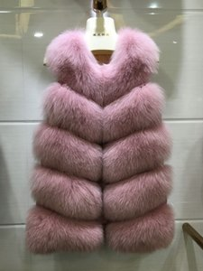 Promoção Big luxo sem mangas Jaqueta para as mulheres colete de pele puffy inverno quente coletes de pele do falso plus size