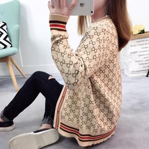 Maglione delle donne con bottoni a maniche lunghe Cardigan lavorato a maglia a strisce Ladies Spring 2018 Maglione di cotone oversize a maniche lunghe S18101004 di lusso