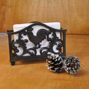 2 Pieces Cast Iron Rooster Paper Towel Holder Put on Desk Table Draw Paper Napkin Holder Cock Living Study Room Home Pub Bar Decor Vintage