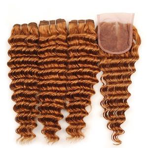 Deep Wave Auburn Lace Closure con Bundles # 30 Pure Middle Auburn Brown Deep Wave ondulato ricci capelli vergini 3 pacchi con chiusura