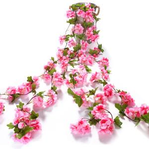 2.2m Artificial Flowers Vine Home Wedding Garden Decoration Rose Fake Flowers Rattan String Festival Hanging Silk flower
