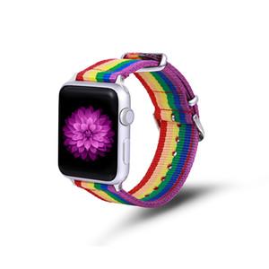 Apple Watch 밴드 레인보우 나일론 밴드 디자인 나일론 패브릭 교체 용 스트랩, iWatch Series 3/2/1, 스테인레스 스틸 클래식 버클 포함