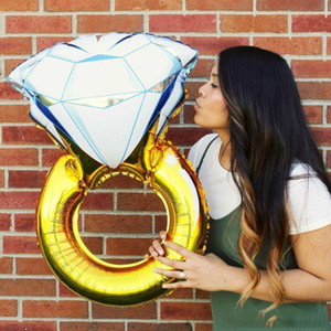 Gigante Diamante Anel de Noivado de Hélio Foil Mylar Balão para Festa de Casamento Nupcial Proposta de Chuveiro 32 e 43 Polegada c124