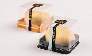 50g Mond Kuchen Trays Mond Kuchen Verpackung Boxen Gold schwarz Kunststoffboden transparente Abdeckung