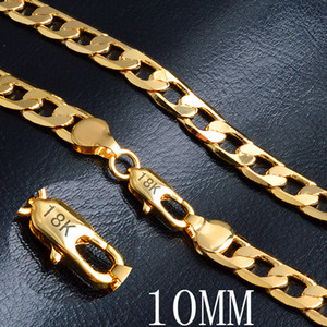 "Miami Cuban Link Chain Necklace 10mm 20"" Gold Color 18 K Stamp Curb Chain For Men Jewelry Corrente De Ouro Masculina Wholesale"