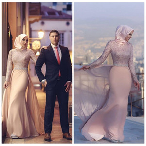 2018 Gorgeous Muslim Mermaid Evening Dresses Long Sleeves Lace Prom Gowns Beaded Sash Floor Length Chiffon Formal Party Dress