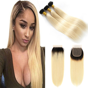 Platinum Ombre Blonde 1B 613# Straight Lace Closure with Bundles Cheap Brazilian Remy Human Hair Weave With 4x4 Lace Closures