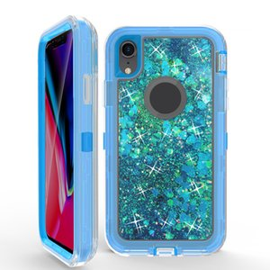 For Iphone XS Liquid Quicksand Case Glitter Bling rugged shockproof waterproof phone case back cover for Iphone 8 8plus XR XS MAX