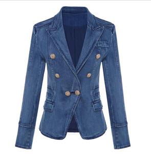 Новый стиль верхнего качества Оригинальный дизайн Женские дамы двубортный Тонкий стиральная джинсовой куртки пряжки металла Blazer 0utwear 1762