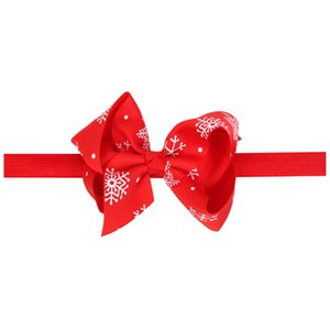 TOP NEW Christmas Gifts Baby Girls Red Snowflake Bowknot Hair Band Satin HeadBands Tie Bow Girls Boutique Accessories CB11