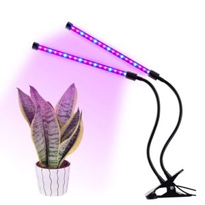 Dual Head 36LED Plant Grow Light 18W 2 livelli dimmerabili Grow Lampadina con collo di cigno regolabile a 360 gradi per piante Hydroponics Serra