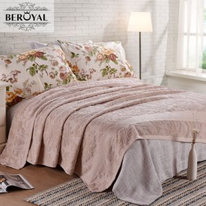 Beroyal  Throw Blanket - 1piece 200*230cm 100% Cotton Blanket Adult Super Soft Floral Blankets