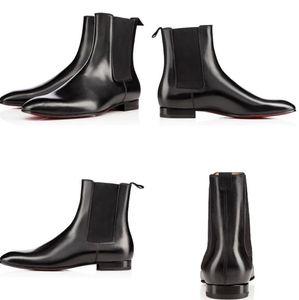 Güz / Kış Roadie Flats erkek Kırmızı Alt Retro Çizmeler Serin Adam Patik Parti Elbise Süper Kalite Ayak Bileği Boot Ile Yürüyüş EU38-47