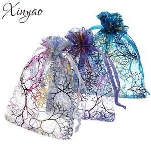 Xinyao 100pcs 7 * 9cm 9 * 12cm 10 * 15cm Coral modello organza coulisse Sacchetti garza filato della festa nuziale di Candy Bags Imballaggio per gioielli
