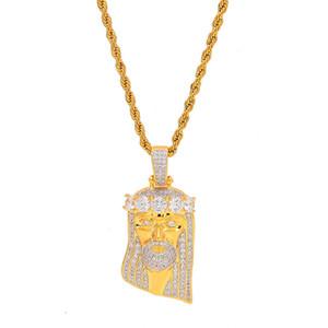 남자의 Hiphop 예수 크라운 펜던트 목걸이 포장 된 마이크로 큐빅 지르코니아 스톤 목걸이 Rapper Punk Jewelry Gift