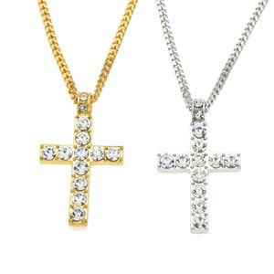 Colar de Pingente de Cruz de Hip Hop Liga Iced Out Strass Tom De Prata De Ouro Crucifixo Charme Jóias Drop Shipping 2 PCS Presente de Natal