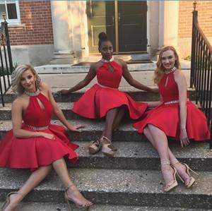 Charming Red Graduation Dresses Kristall Perlen Halfter Mini Länge Homcoming Kleider Satin Mädchen Party Kleider