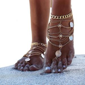 Chaîne de gland multicouche Chaînes de cheville Pièce de monnaie en métal pied ornement pompon Chaînes de cheville été Plage d'or Leg Chain Chaîne Boho Chaînes de cheville ethniques pour femmes Bijoux