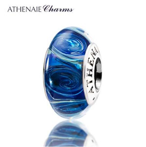 ATHENAIE Genuine Murano Glass 925 Silver Core Galaxy Charms Bead Fit Braccialetto europeo Collana per le donne Gioielli fai da te